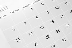 Calendar page. Closeup of dates on calendar page royalty free stock photos