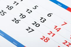 Calendar page Royalty Free Stock Photo