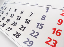 Calendar page. Close up a calendar page Royalty Free Stock Photography