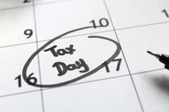 Calendar page with date reminde. R. Tax concept Stock Images