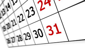 Calendar page. With date of 31st. Shallow Royalty Free Stock Image