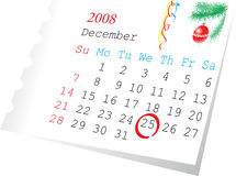 Calendar page december 2008. Christmas calendar page december 2008. The 25-th date is checket Royalty Free Stock Photo