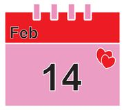 Calendar page for February 14th for the Valentine or Valentines Day. Stock Photography