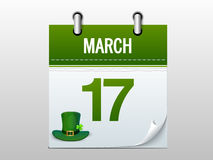Calendar page for Happy St. Patricks Day celebration. Stock Photography