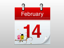 Calendar page for Happy Valentines Day celebration. Stock Photography