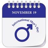 Calendar page - International Men`s Day. Calendar page for International Men`s Day November 19 Royalty Free Stock Photo
