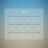Calendar page for 2014 Royalty Free Stock Photo
