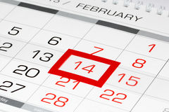 Calendar page with marked date 14 of February Royalty Free Stock Photos