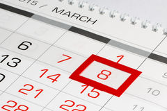 Calendar page with marked date 8 of March Royalty Free Stock Photos