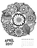 2017 calendar page of month. April, 2017 calendar. Line Art Black and white Illustration. Flower set. Print anti-stress coloring page Stock Photography