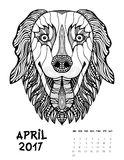 2017 calendar page of month. April 2017 calendar Zendoodle style, start on sunday, Funny Dog. Patterned zentangle, black and white. For Print anti-stress Royalty Free Stock Image