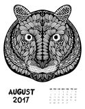 2017 calendar page of month. August, 2017 calendar. Line Art Black and white Illustration. Tiger. Print anti-stress coloring page Vector Illustration