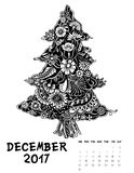 2017 calendar page of month. December 2017, Line Art calendar page of month. Christmas tree of flowers. Black and white illustration Stock Photos