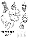 2017 calendar page of month. December 2017 calendar Zendoodle style, start on sunday, FSet of abstract flowers. Patterned zentangle, black and white. For Print Royalty Free Stock Photo