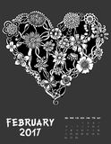 2017 calendar page of month. February 2017, Line Art calendar page of month. Hearts of flowers. Black and white illustration Royalty Free Stock Image