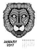 2017 calendar page of month. January, 2017 calendar. Line Art Black and white Illustration. Lion. Print anti-stress coloring page Royalty Free Stock Images