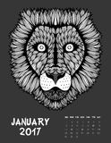 2017 calendar page of month. January, 2017 calendar. Line Art Black and white Illustration. Lion. Print anti-stress coloring page Vector Illustration