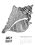 2017 calendar page of month. July, 2017 calendar. Line Art Black and white Illustration. Seasell. Print anti-stress coloring page Royalty Free Illustration