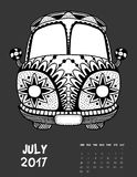 2017 calendar page of month. July, 2017 calendar. Line Art Black and white Illustration. Van. Print anti-stress coloring page. Set 2 Vector Illustration