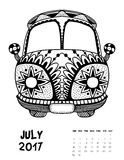 2017 calendar page of month. July, 2017 calendar. Line Art Black and white Illustration. Van. Print anti-stress coloring page. Set 2 Stock Photo
