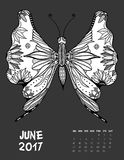 2017 calendar page of month. June, 2017 calendar. Line Art Black and white Illustration. Butterfly. Print anti-stress coloring page Royalty Free Stock Photo
