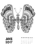 2017 calendar page of month. June, 2017 calendar. Line Art Black and white Illustration. Butterfly. Print anti-stress coloring page Stock Images