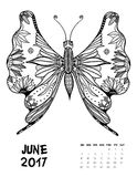 2017 calendar page of month. June, 2017 calendar. Line Art Black and white Illustration. Butterfly. Print anti-stress coloring page Royalty Free Stock Photography