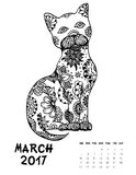 2017 calendar page of month. March, 2017 calendar. Line Art Black and white Illustration. Cat. Print anti-stress coloring page Stock Illustration
