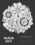 2017 calendar page of month. March, 2017 calendar. Line Art Black and white Illustration. Flower set. Print anti-stress coloring page Vector Illustration