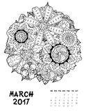 2017 calendar page of month. March, 2017 calendar. Line Art Black and white Illustration. Flower set. Print anti-stress coloring page Royalty Free Stock Image