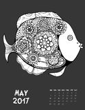 2017 calendar page of month. May, 2017 calendar. Line Art Black and white Illustration. Fish. Print anti-stress coloring page Royalty Free Stock Photos