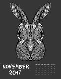 2017 calendar page of month. November, 2017 calendar. Line Art Black and white Illustration. Rabbit. Print anti-stress coloring page Stock Photo