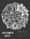 2017 calendar page of month. October, 2017 calendar. Line Art Black and white Illustration. Flower set. Print anti-stress coloring page Stock Photography