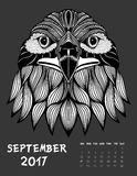 2017 calendar page of month. September, 2017 calendar. Line Art Black and white Illustration. Eagle. Print anti-stress coloring page Vector Illustration