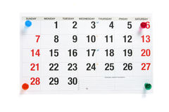 Calendar Page with Pushpins. On White Background Stock Photo