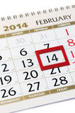 Calendar page with red frame on February 14 2014. Royalty Free Stock Photos
