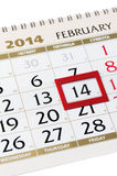 Calendar page with red frame on February 14 2014. Stock Photo