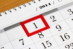 Calendar page with selected first date of month 2014 Royalty Free Stock Photos