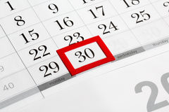 Calendar page with selected last date of month. Calendar page with marked date of 30th Royalty Free Stock Photos