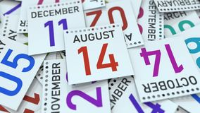 Calendar leaf with August 14 date, 3D rendering. Calendar page with a specific date, 3D royalty free illustration