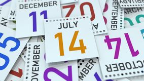 Calendar page shows July 14 date, 3D rendering. Calendar page with a specific date, 3D royalty free illustration