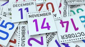 November 14 date on calendar leaf. 3D rendering. Calendar page with a specific date, 3D vector illustration