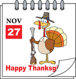 Calendar Page Turkey With Musket. Cartoon Calendar Page Turkey With Pilgrim Hat and Musket Stock Image