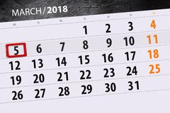 Calendar page year 2018 month March date 5 stock photography