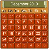 Calendar page, 2019 year, vector. Calendar icon with days of the month, December 2019, vector 10 EPS royalty free illustration
