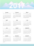 Calendar page. 2017 year, vector template. Week starts at Monday. Poster with mountain background Royalty Free Stock Photo