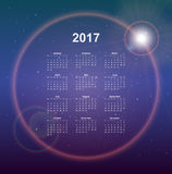 Calendar page. 2017 year, vector template. Week starts at Monday. Poster with night sky background Stock Images