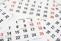 Calendar Pages Stock Photography