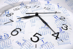 Calendar Pages and Clock Stock Photography