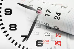 Calendar Pages and Clock Stock Image